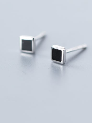 925 Sterling Silver With Resin Simplistic Geometric Stud Earrings