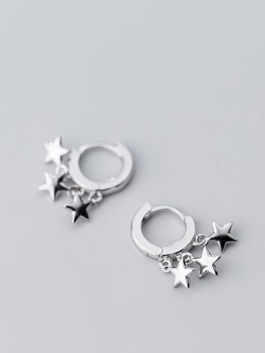 925 Sterling Silver With Silver Plated Fashion Star Clip On Earrings