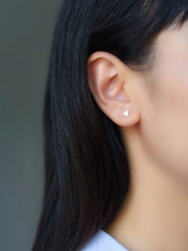 S925 Silver Simple Small Triangle Lovers Stud cuff earring