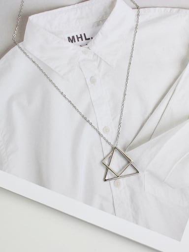 Simple Hollow Triangle Square Combined Silver Women Necklace