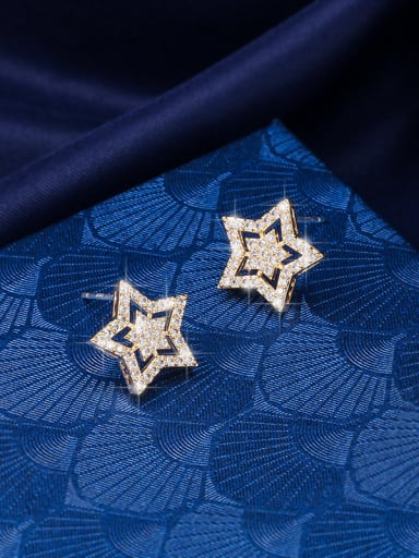 Copper With Cubic Zirconia  Cute  Hollow Star Stud Earrings