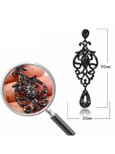 Stainless Steel With Full drill Luxury Water Drop Earrings