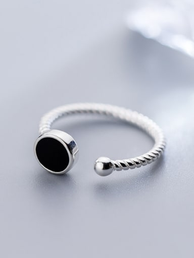 925 Sterling Silver With Delicate black enamel Rings