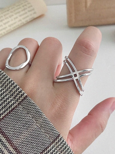925 Sterling Silver With Hollow Simplistic  Double Layer Type X Free Size Rings