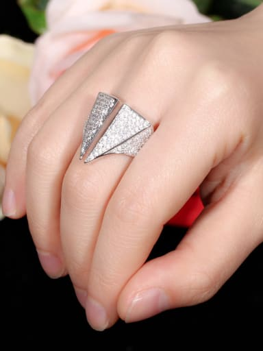 Copper With Cubic Zirconia   Luxury  Two Triangle Band Rings