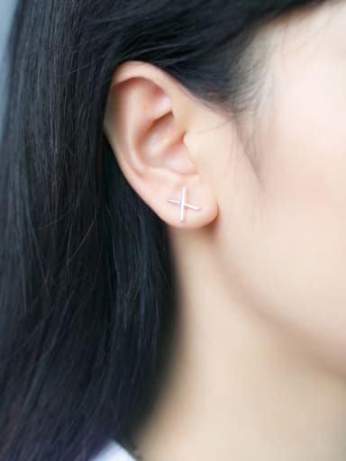 S925 silver character letter X stud cuff earring