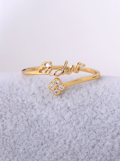 Women Handmade Flower Shaped Zircon Ring