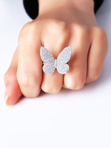 Copper With  Cubic Zirconia Cute Butterfly Statement Rings