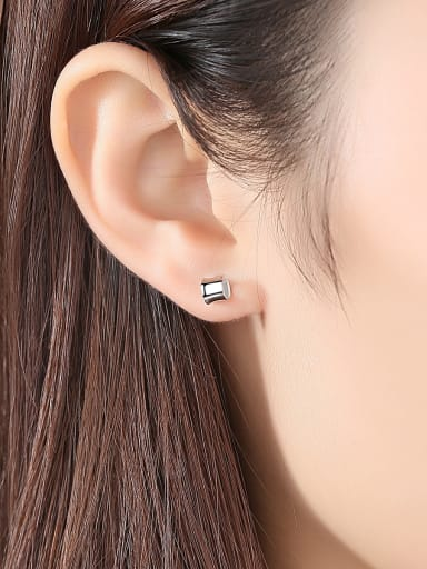 925 Sterling Silver With Platinum Plated Simplistic Cylinder Stud Earrings