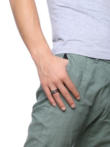 Multi-color Plated Geometric Shaped Titanium Men Ring