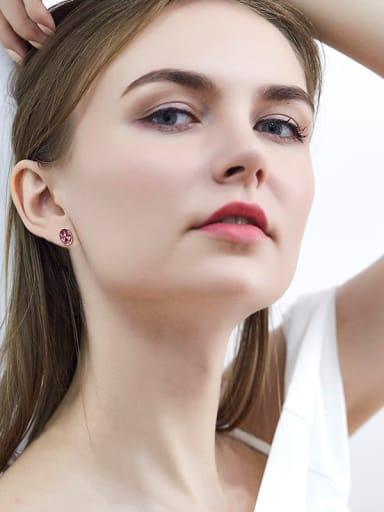 S925 Silver Oval-shaped stud Earring