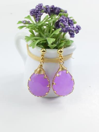 Purple Water Drop Shaped Natural Stone Earrings