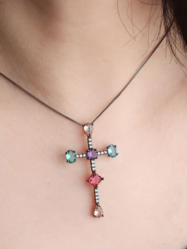 Copper With Cubic Zirconia Trendy Cross Necklaces