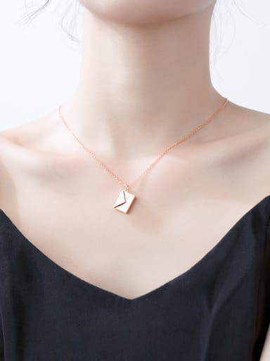 Sterling Silver simple square envelopes love letter necklace