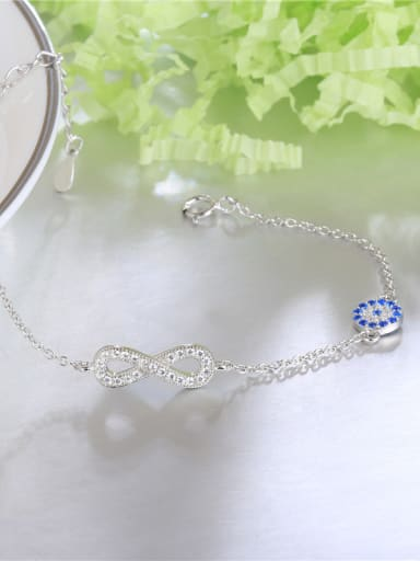 Elegant Number Eight Shaped Blue Zircon Bracelet