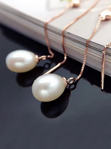 Simple Freshwater Pearl Heart-shaped threader earring