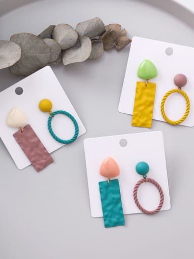 Alloy With  Enamel Simplistic Asymmetry Multicolor Geometric Drop Earrings