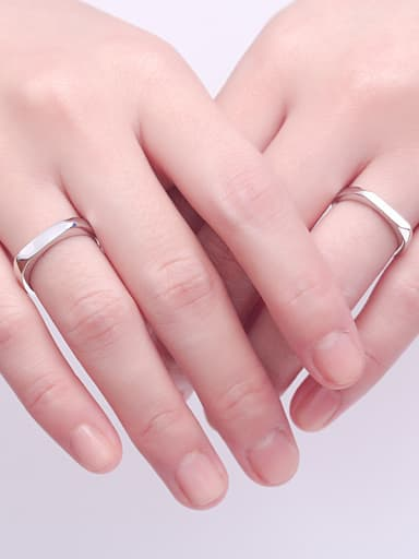 925 Sterling Silver With Glossy Simplistic  Lovers Free Size Rings
