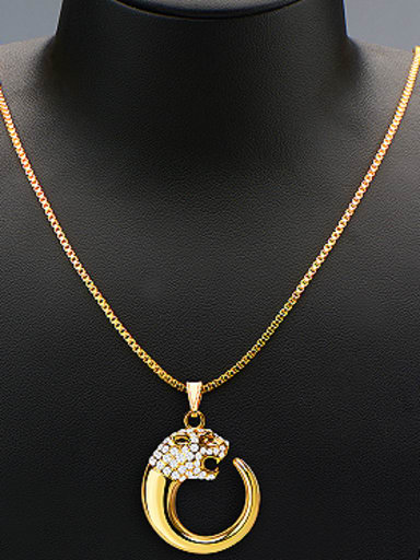 18K Cheetah Head Rhinestones Two Pieces Jewelry Set