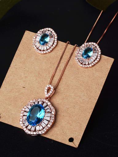 Copper With Glass stone Classic Oval 2 Piece Jewelry Set
