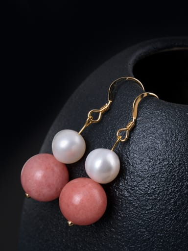 Personalized Pink Stone Bead Freshwater Pearl 925 Silver Earrings