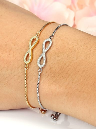 Copper With Cubic Zirconia  Simplistic Number  8 Adjustable  Bracelets
