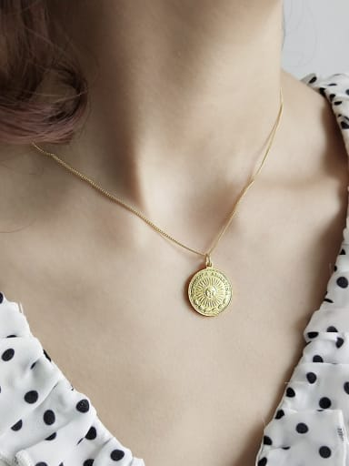 Sterling silver golden portrait coin necklace