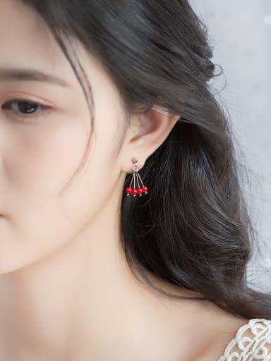 All-match Red Carnelian S925 Silver Drop Earrings