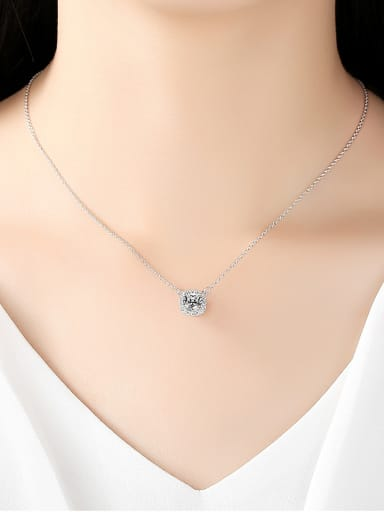 Sterling Silver AAA zircon bling bling Necklace