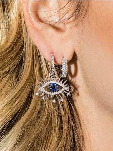 Copper With Platinum Plated Personality  Asymmetry Evil Eye Clip On Earrings
