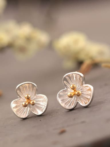 Doubles Color Three PetalS Flower stud Earring