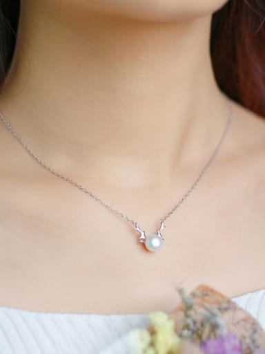 S925 Silver Elk Natural Freshwater Pearl Collarbone Necklace Christmas ' Gift