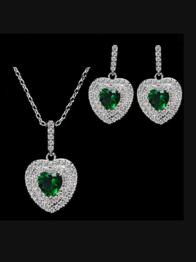 Heart Shaped Zircon earring Necklace Jewelry Set
