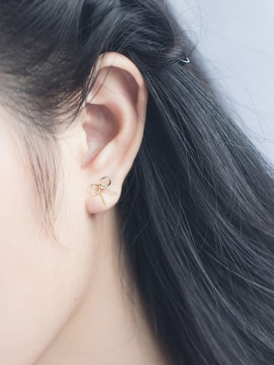 Lovely Gold Plated Bowknot Shaped S925 Silver Stud Earrings