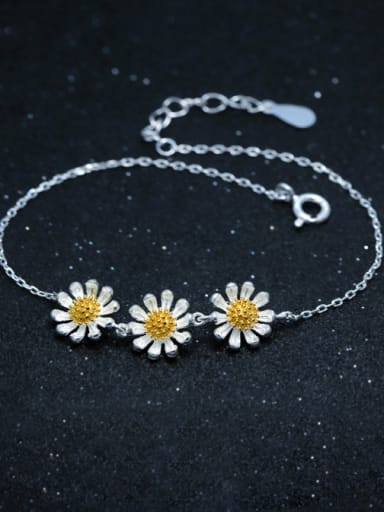 S925 Silver Small Three Daisy Fashion Bracelet