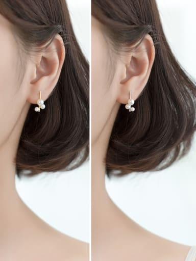 925 Sterling Silver With Artificial Pearl Personality Irregular Stud Earrings
