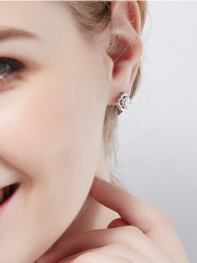 S925 Silver Clover Shaped stud Earring