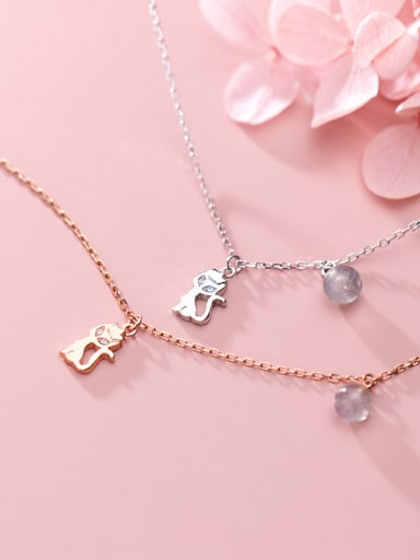 925 Sterling Silver With Rose Gold Plated Cute Cat Necklaces