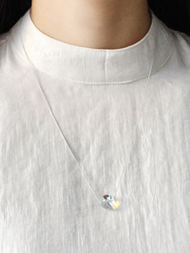 Simple Clear Crystal Ball Pendant Silver Necklace