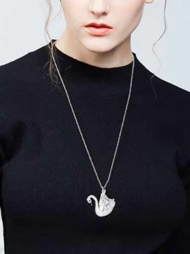 Elegant White Zircon Platinum Plated Swan Sweater Chain