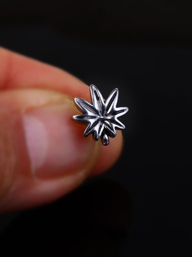 Stainless Steel With Antique Silver Plated Vintage Leaf Stud Earrings