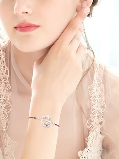 Simple Hollow Round Little Dog 925 Silver Red Rope Bracelet