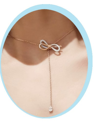Stainless Steel With Rose Gold Plated Fashion Bowknot Necklaces