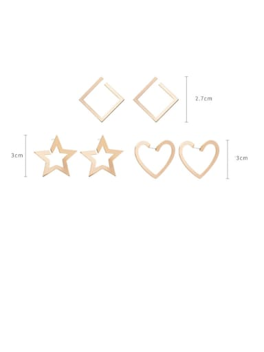 Alloy With Rose Gold Plated Smooth Simplistic Geometric Stud Earrings