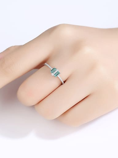 925 Sterling Silver With Platinum Plated Simplistic Geometric Free Size Rings