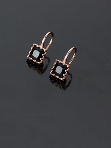 925 Sterling Silver With Cubic Zirconia  Simplistic Geometric Hook Earrings