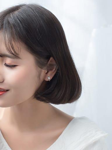 Lovely Deer Shaped Artificial Pearl S925 Silver Stud Earrings