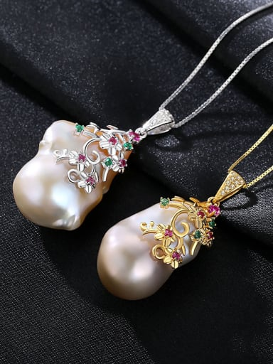 Sterling silver shaped baroque natural pearl necklace