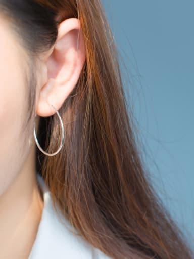 S925 silver smooth circle hoop earring