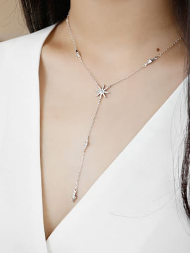 Pure silver inlaid zircon sun flower clavicle Necklace